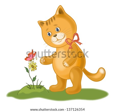 Cartoon cat, flower and butterfly, isolated on white background. Eps10, contains transparencies. Vector - stock vector
