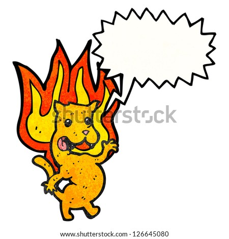 cartoon cat on fire