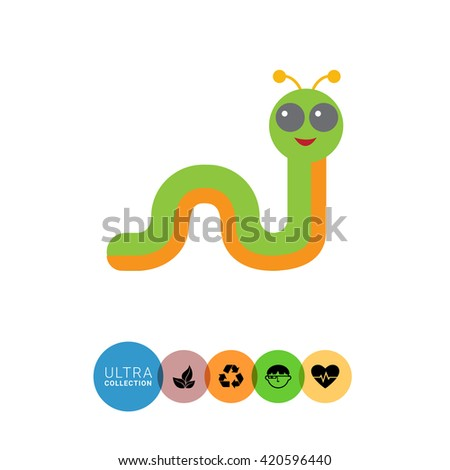 Cartoon caterpillar icon 1