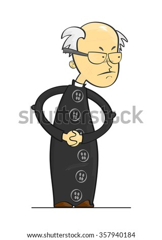 Cartoon Catholic priest on a white background. Vector - stock vector