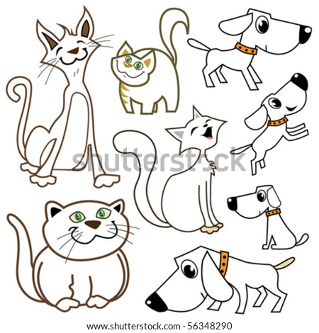 cartoon cats and dogs - stock vector