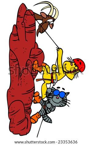 Cartoon cats climbing on a hill. - stock vector