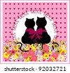 Cartoon cats in love. Cute romantic background - stock vector