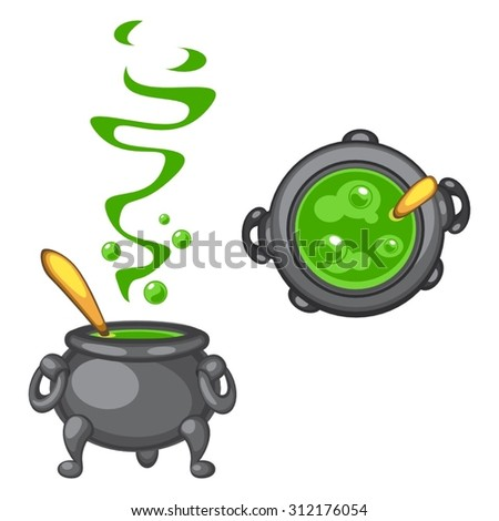 Cartoon cauldron with green boiling poison and golden spoon, side and top view
