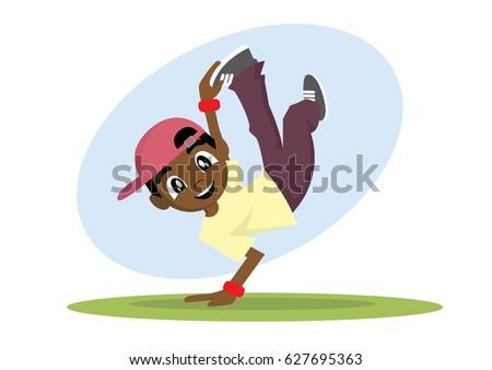 Cartoon Character African Boy Break Dance Vector Eps10