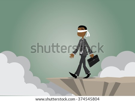 Cartoon character, African businessman blindfolded and walking to the cliffs., vector eps10 - stock vector