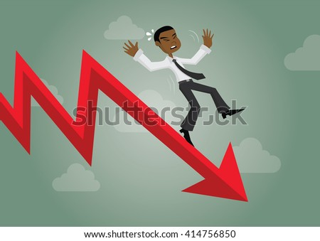 Cartoon character, African businessman falling from the red graph chart arrow.,vector eps10