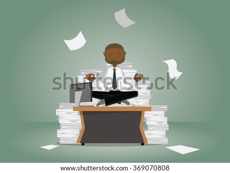 Cartoon character, african Businessman meditating on desk and documents Division, vector eps10 - stock vector