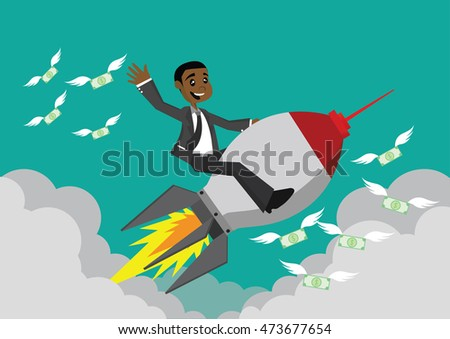 Cartoon character, African businessman riding a rocket., vector eps10
