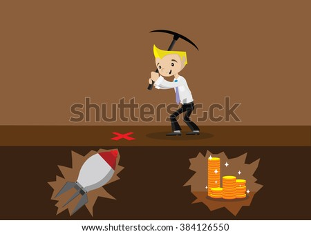 Cartoon character, Alternative crash for digging for treasure., vector eps10