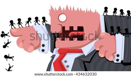 Cartoon character boss commanding, vector illustration, horizontal, isolated, over white