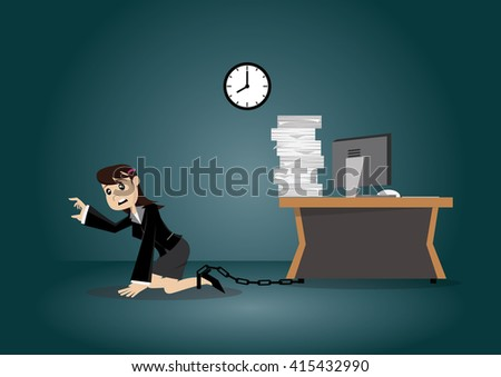 Cartoon character, Business woman being chained to a desk., vector eps10