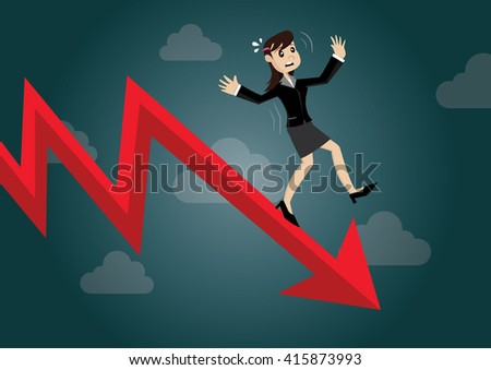 Cartoon character, Business woman falling from the red graph chart arrow.,vector eps10