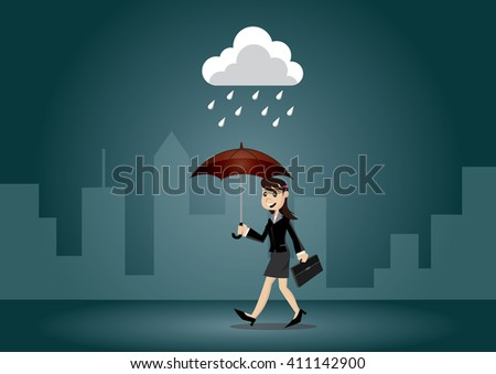 Cartoon character, Business woman holding umbrella, vector eps10