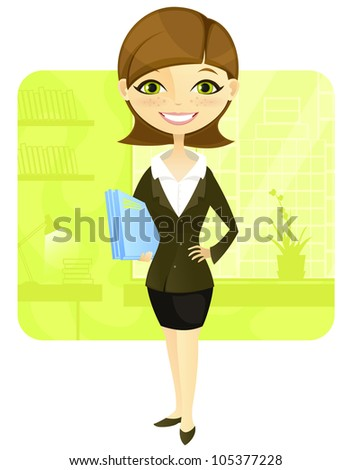 Cartoon Character Business Woman Isolated on White Background. Vector EPS 10. - stock vector