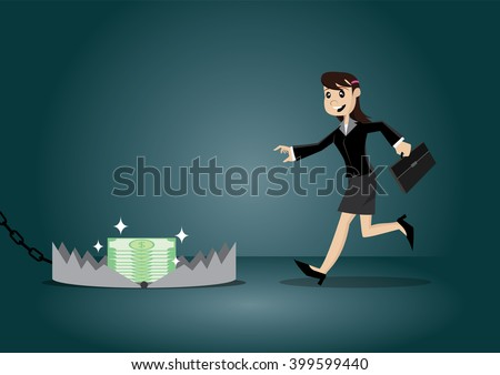 Cartoon character, Business women running go to a traps., vector eps10 - stock vector