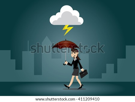 Cartoon character, Business women umbrella to protect himself from the thunderclap., vector eps10