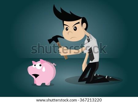 Cartoon character businessman breaking piggy bank., vector eps10 - stock vector