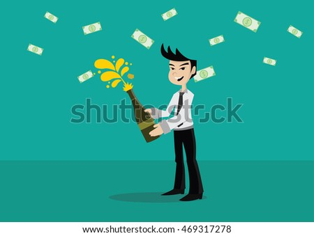 Cartoon character, Businessman celebrating with a bottle of champagne., vector eps10