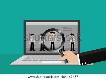 online resume stock photos royalty free images amp vectors cartoon character businessman hand search resume in