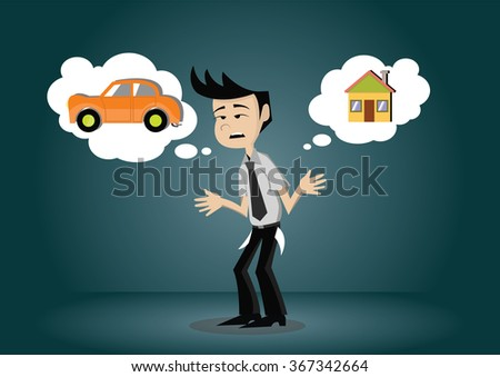 Cartoon character businessman have no money for the car and home., vector eps10 - stock vector