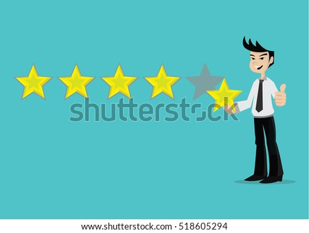 Cartoon character, Businessman holding a star for giving five star rating., vector eps10