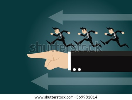 Cartoon character, Businessman is run follow by the finger of big boss., vector eps10