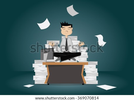 Cartoon character, Businessman meditating on desk and documents Division, vector eps10 - stock vector