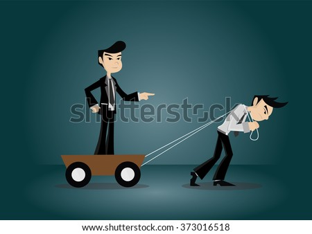 Cartoon character, businessman pull trolley led to a goal for boss., vector eps10 - stock vector