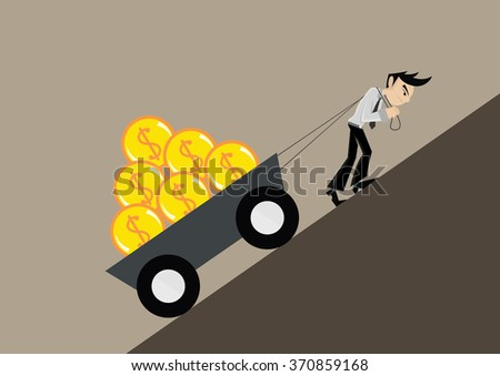 Cartoon character, Businessman pulling gold dollar up a steep slope., vector eps10 - stock vector