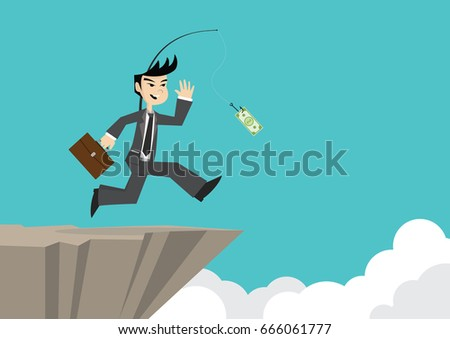 Cartoon character, Businessman running is chasing money on cliff., vector eps10