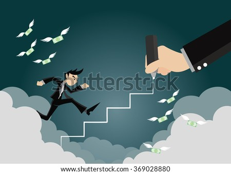 Cartoon character, Businessman running on stair drawing, Big hand drawing, vector eps10