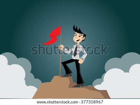 Cartoon character, Businessman with flag on the Mountain., vector eps10
