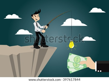 Cartoon character, Businessmen make money by using a fishing rod and ideas., vector eps10 - stock vector