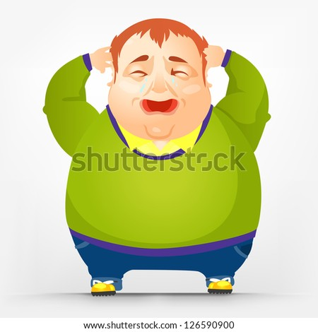 Cartoon Character Cheerful Chubby Men. Cry. Vector Illustration. EPS 10. - stock vector