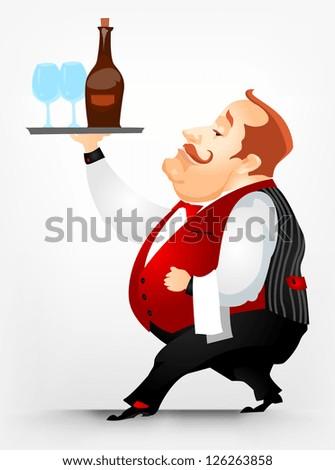 Cartoon Character Cheerful Chubby Men. Waiter. Vector Illustration. EPS 10. - stock vector