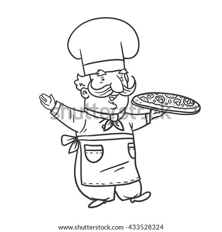 Cartoon character cook chef pizza. Vector  illustration.
