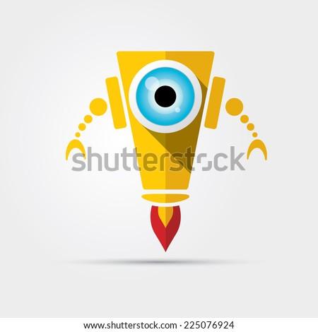 Cartoon Character Cute orange Robot Isolated on Grey Gradient - stock vector