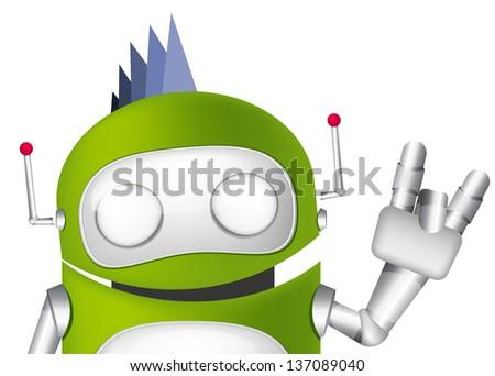 Cartoon Character Cute Robot. Avatar. Vector EPS 10. - stock vector