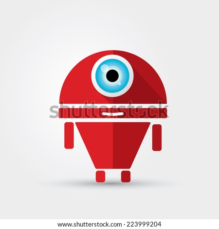Cartoon Character Cute Robot Isolated on Grey Gradient