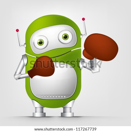 Cartoon Character Cute Robot Isolated on Grey Gradient Background. Boxing. Vector EPS 10.