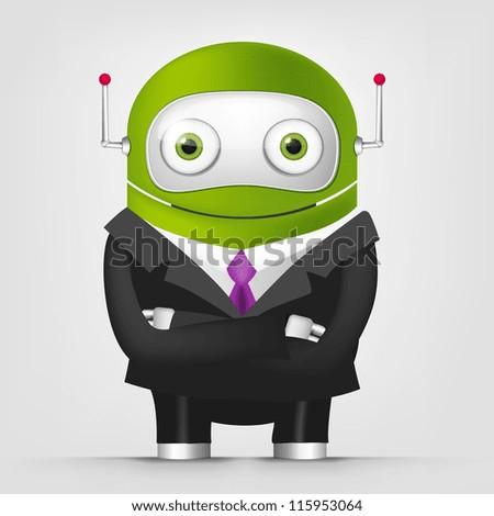 Cartoon Character Cute Robot Isolated on Grey Gradient Background. Businessmen Cross Hands. Vector EPS 10. - stock vector