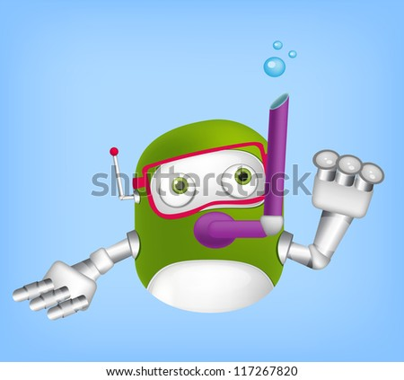 Cartoon Character Cute Robot Isolated on Grey Gradient Background. Diver. Vector EPS 10. - stock vector
