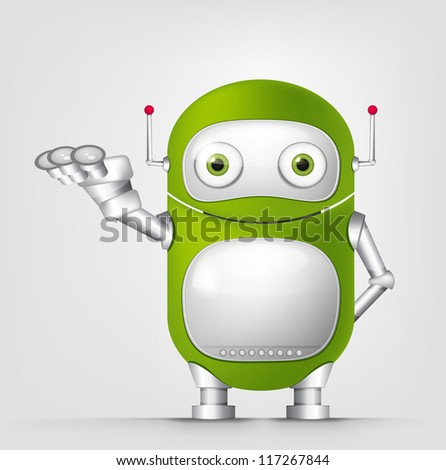 Cartoon Character Cute Robot Isolated on Grey Gradient Background. Empty hand. Vector EPS 10. - stock vector