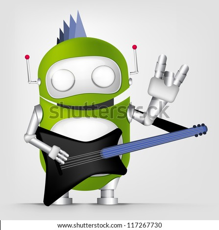 Cartoon Character Cute Robot Isolated on Grey Gradient Background. Guitarist. Vector EPS 10.