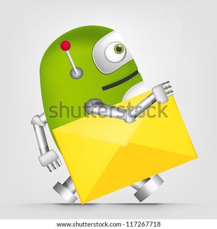 Cartoon Character Cute Robot Isolated on Grey Gradient Background. Postman. Vector EPS 10. - stock vector