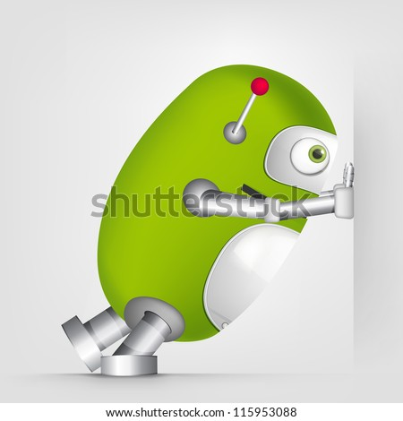 Cartoon Character Cute Robot Isolated on Grey Gradient Background. Pushing. Vector EPS 10. - stock vector