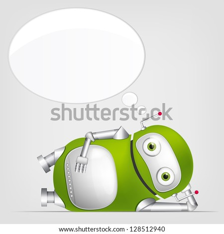 Cartoon Character Cute Robot Isolated on Grey Gradient Background. Relaxation. Vector EPS 10. - stock vector