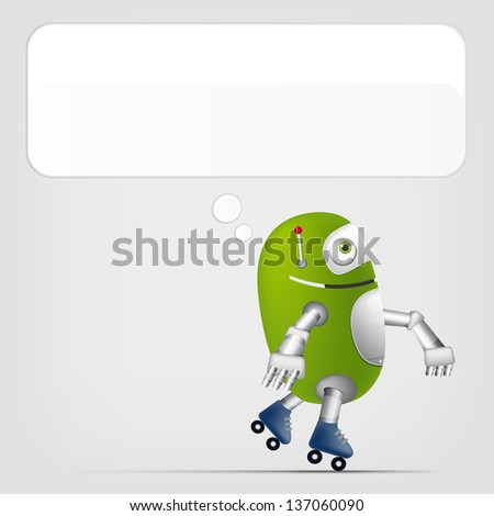 Cartoon Character Cute Robot Isolated on Grey Gradient Background. Roller. Vector EPS 10. - stock vector