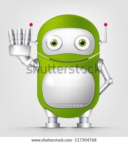Cartoon Character Cute Robot Isolated on Grey Gradient Background. Stop. Vector EPS 10. - stock vector